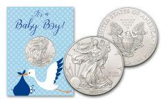 2021 $1 1-oz American Silver Eagle BU Baby Boy Card