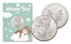 2021 $1 1-oz American Silver Eagle BU New Baby Card