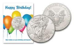 2021 $1 1-oz American Silver Eagle BU Birthday Balloons Card