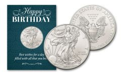 2021 $1 1-oz American Silver Eagle BU Birthday Traditional Card