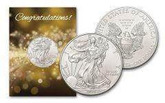 2021 $1 1-oz American Silver Eagle BU Congratulations Card