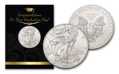 2021 $1 1-oz American Silver Eagle BU Graduation Card