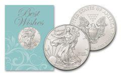 2021 $1 1-oz American Silver Eagle BU Best Wishes Card