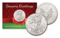 2021 $1 1-oz American Silver Eagle BU Season's Greetings Card