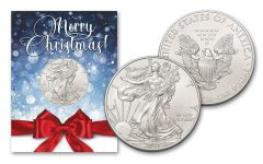 2021 $1 1-oz American Silver Eagle BU Merry Christmas Card