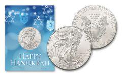 2021 $1 1-oz American Silver Eagle BU Hanukkah Card