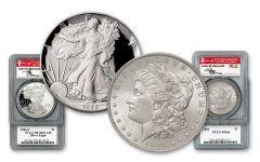 1886-P Morgan Silver Dollar & 1986 Silver Eagle 2-pc Set PCGS MS66–PR70 w/Mercanti Signature