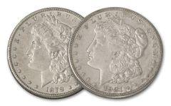 1878–1921-S Morgan Silver Dollar 2-pc Set XF–AU