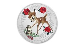 2020 Niue Disney Seasons Gretings - Bambi 1 oz Colorized Proof Silver $2 Coin GEM Proof OGP
