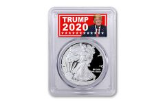 2020-S $1 1-oz Silver Eagle PCGS PR70DC First Strike w/Trump 2020 Label