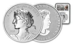 2021 Canada $1 1-oz Silver Peace Dollar Ultra High Relief Reverse Proof NGC PF70 First Day of Issue w/Taylor Signature