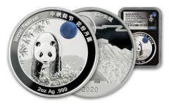 CHINA 2020 2OZ SILVER MOON PANDA PF70UC FDI