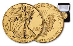 2021 $1 1-oz Silver Eagle BU Clad w/24-Karat Gold