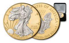 2021 $1 1-oz Silver Eagle BU w/24-Kt Gold Clad Background