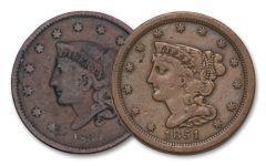 1808–1857 Half Cent & Large Cent 2-pc Set VG–VF w/Medal