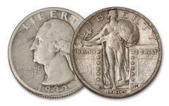 1930 Standing Liberty & 1932 Washington Quarters 2-pc Set