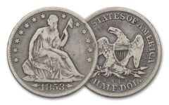 1853 Seated Liberty Silver Half Dollar Arrows and Rays Fine