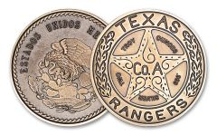 Intaglio Mint 2-oz Silver Texas Rangers Badge Round Antiqued