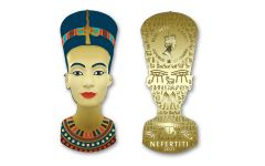 2021 Ghana 10-gm CuNi Legacy of Egypt Nefertiti Ultra High Relief Gilded Colorized Shaped Coin