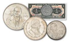 1957–1983 Mexico 1–100 Peso 3-pc Set BU w/Note