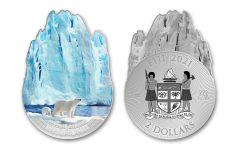 2021 Fiji $2 1-oz Silver Glacier Shaped Colorized Coin BU