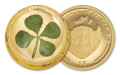 2021 Palau $1 1 g Gold Four-Leaf Clover Enameled Proof Coin GEM Proof Original Mint Capsule with COA