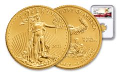 2021 $5 1/10-oz Gold American Eagle NGC MS70 First Releases w/Eagle Label