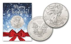 2020 $1 1-oz American Silver Eagle BU Merry Christmas Card