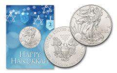 2020 $1 1-oz American Silver Eagle BU Happy Hanukkah Card