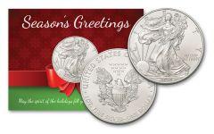 2020 $1 1-oz Silver American Eagle Season's Greetings Card