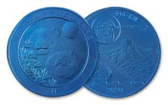 2020 China 12-gm Blue Titanium Moon Festival Panda BU