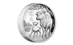 2021 Australia $1 1-oz Silver Lunar Year of the Ox High Relief Proof