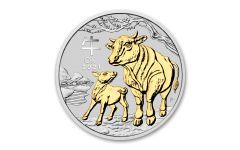 2021 Australia $1 1-oz Silver Lunar Year of the Ox Gilded BU