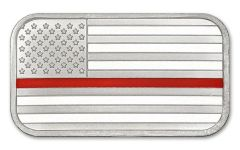 SilverTowne 1-oz Silver Firefighter Enameled Red Line Flag Bar Proof-Like