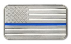SilverTowne 1-oz Silver Police Enameled Blue Line Flag Bar Proof-Like