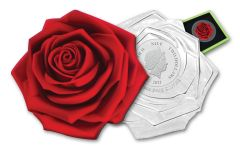 2021 Niue $2 1-oz Silver Enchanting Rose-Shaped Colorized Proof-Like