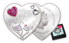 2021 Cook Islands $5 20g Silver Happy Valentines Day with Swarovski Crystals Colorized Proof Coin GEM Proof OGP