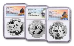 2019–2021 China 30-gm Silver Panda 3-pc Set NGC MS70 FDI