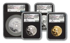 2020 China Silver & Gold Azure Dragon Vault Protector 4-pc Set NGC PF70UC First Day of Issue w/Song Signature