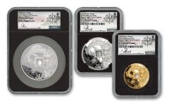 2020 China Silver & Gold Azure Dragon Vault Protector 3-pc Set NGC PF70UC First Day of Issue w/Song Signature