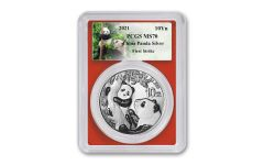 2021 China 30-gm Silver Panda PCGS MS70 First Strike w/Red Core & Panda Label