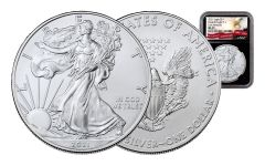 2021 $1 1-oz Silver Eagle NGC MS70 Early Releases w/Black Core & Eagle Label