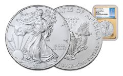 2021 $1 1-oz Silver Eagle NGC MS70 First Day of Issue w/Gold Foil Core