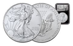2021 $1 1-oz Silver Eagle NGC MS70 First Day of Issue w/Black Core & Heraldic Eagle Label