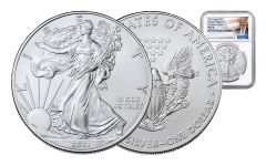 2021 $1 1-oz Silver Eagle NGC MS70 First Day of Issue w/Trump Label