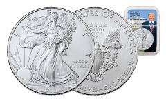2021 $1 1-oz Silver Eagle NGC MS70 First Day of Issue w/Trump Label & Core