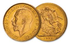 1911–1932 Great Britain Gold Sovereign of George V BU