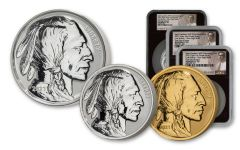 2021 Fraser Lost Buffalo Ultra High Relief Gold & Silver Reverse Proof 3-Medal Set NGC PF70 FDI BC Fraser Label