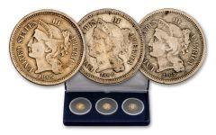 1865–1867 Three Cent Nickel Fine 3-pc Set