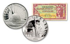1986-S Statue of Liberty Dollar & Half Dollar 2-pc Set w/Series 591 MPC Note